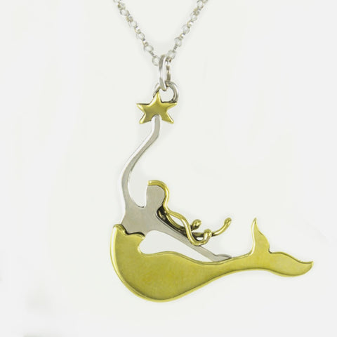 Magical Mermaid Necklace - Sterling Silver/Brass, Mexico