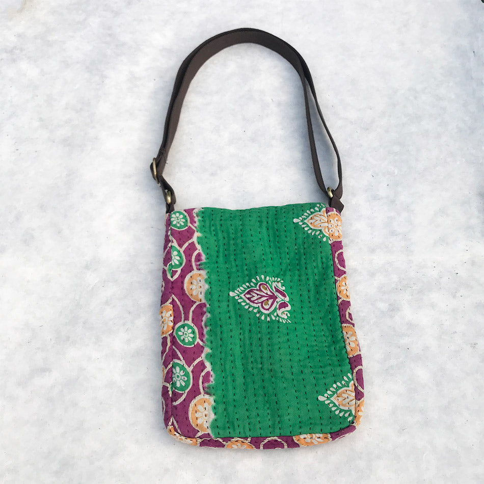 Fair trade recycled sari messenger bag handmade by survivors of human trafficking