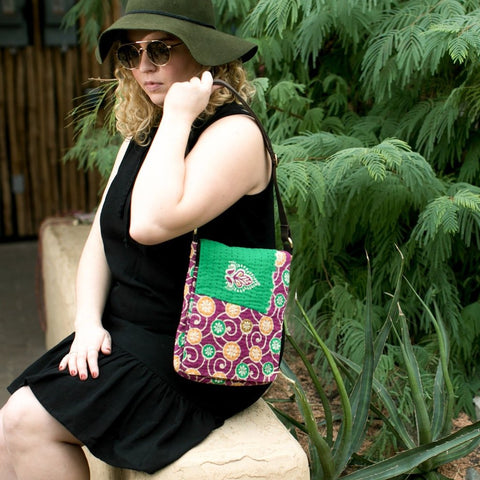 Fair trade recycled sari messenger bag handmade by women in India