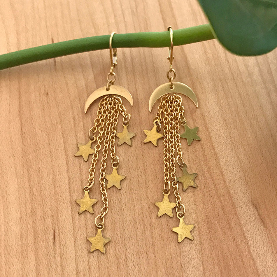 Moon and Stars Earrings - Gold, Guatemala