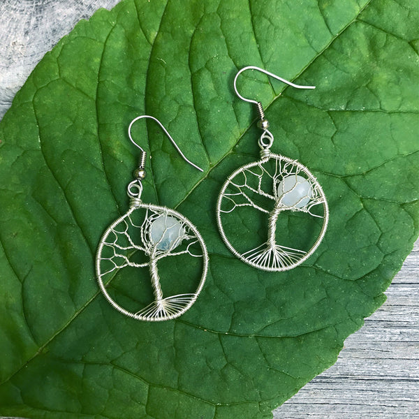 Moonstone Tree of Life Earrings - Silver, Guatemala