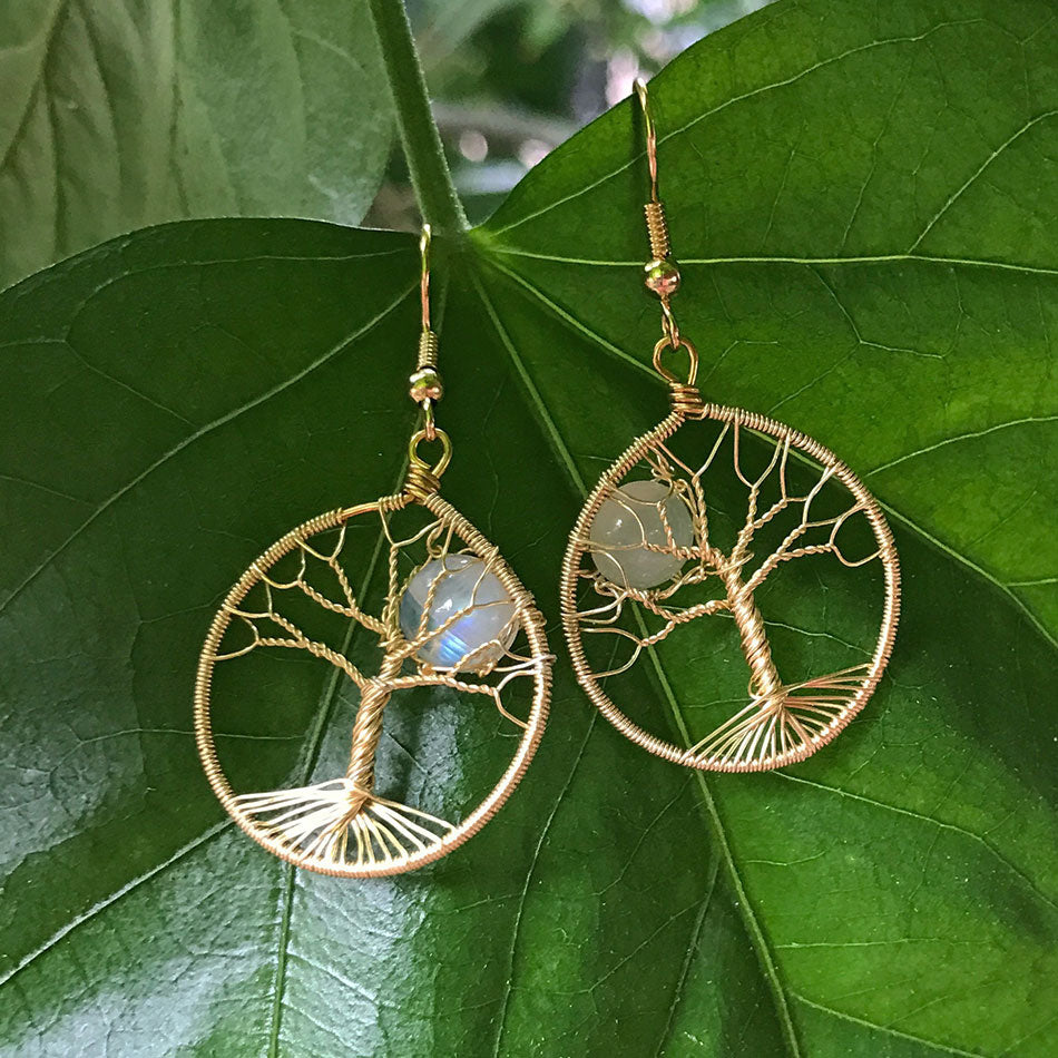 Moonstone Tree of Life Earrings - Gold, Guatemala