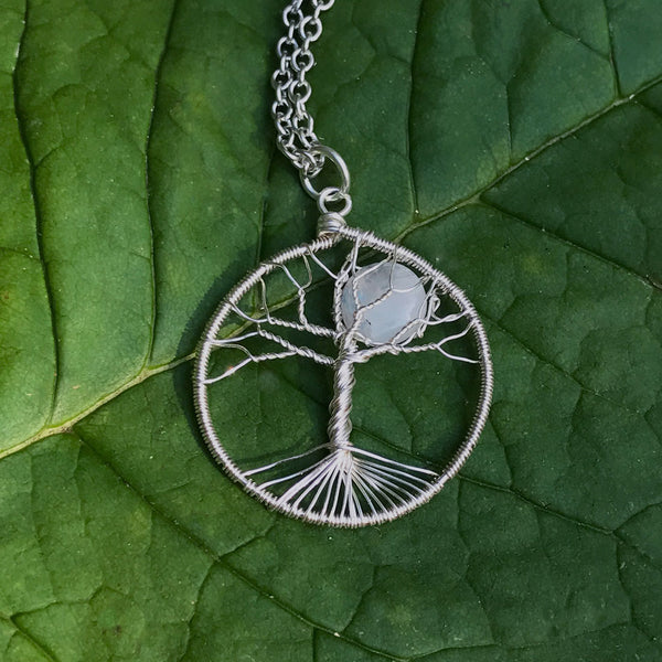 Moonstone Tree of Life Necklace - Silver, Guatemala