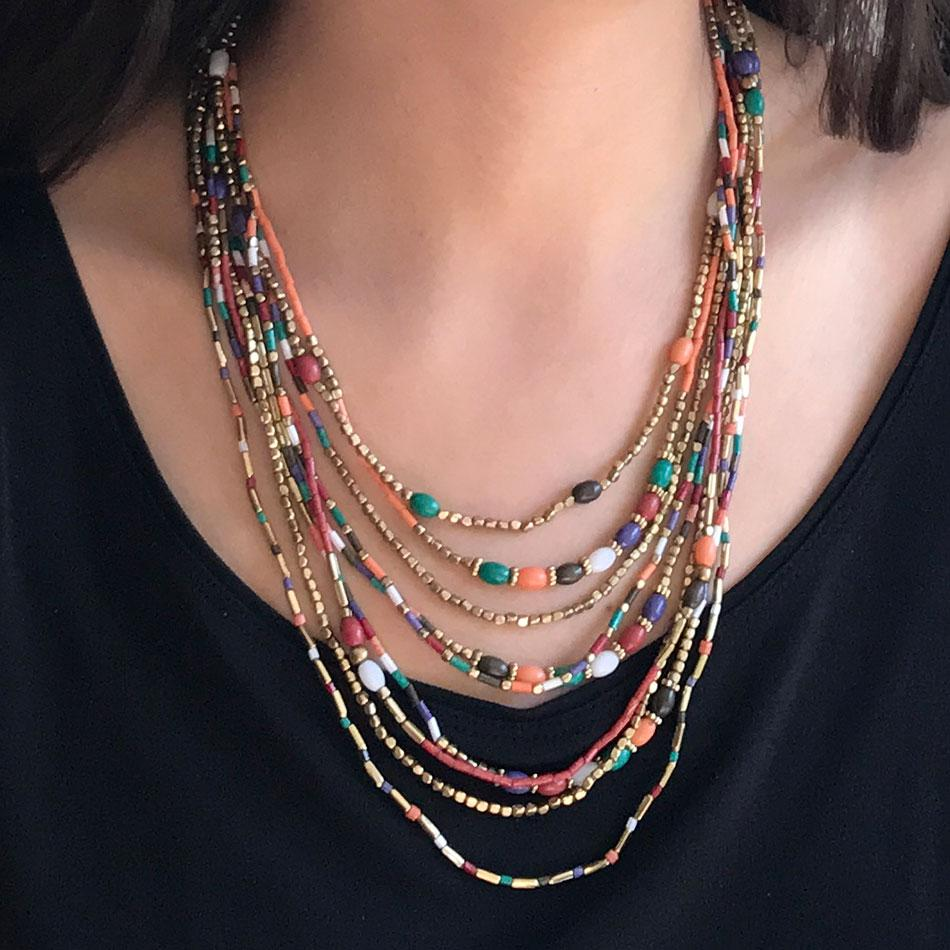 Fair trade beaded necklace handmade by women in India