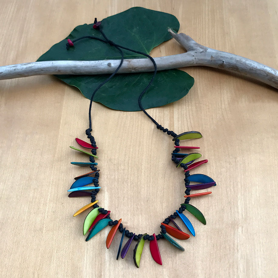 Fair trade tagua necklace handmade by women in Colombia