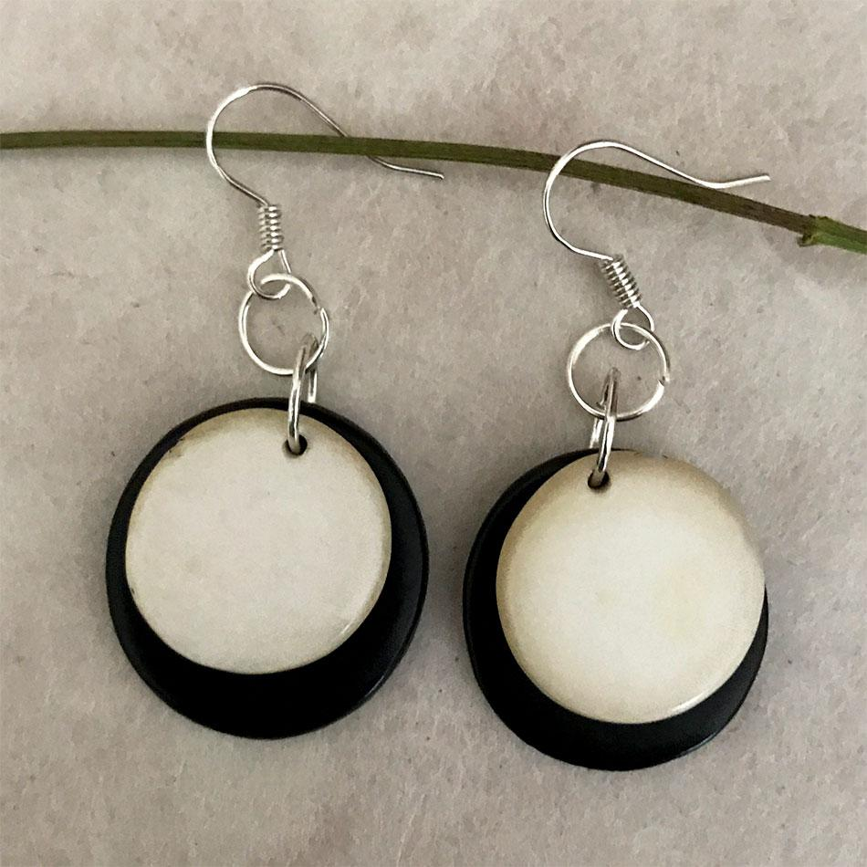 Fair trade tagua earrings handmade in Colombia
