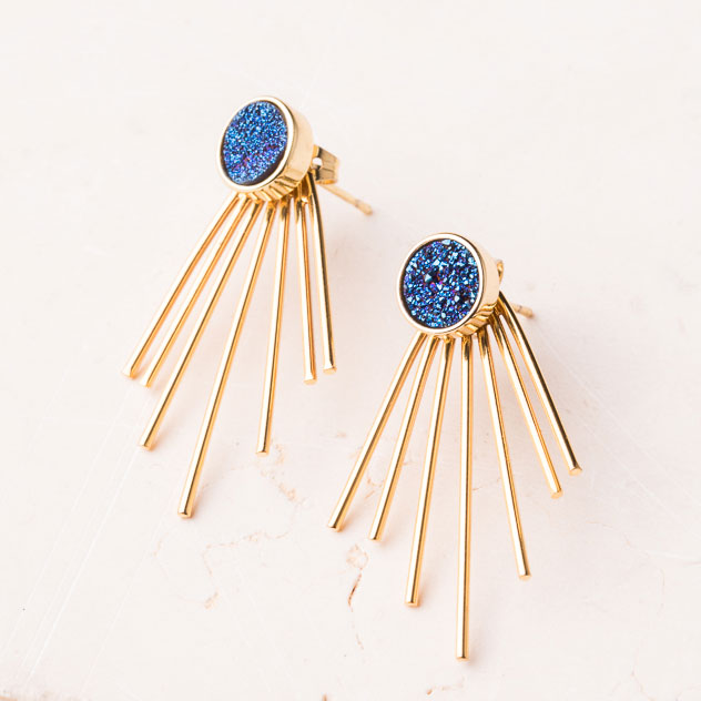 Fair trade blue druzy agate earrings handmade by survivors of human trafficking.