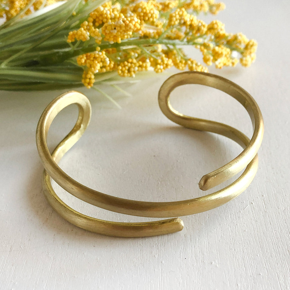 Fair trade brass cuff bracelet handmade by women in India