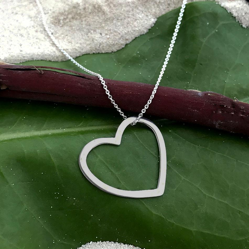 Fair trade sterling silver heart necklace handmade in Mexico