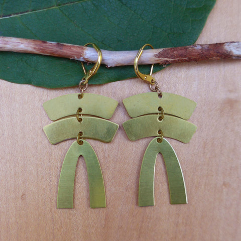 Fair trade brass earrings handmade in Guatemala