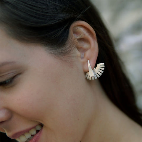Fair trade ear jacket earrings handmade by women in India