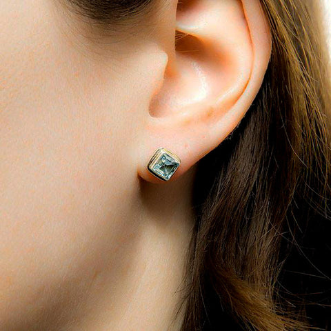 fair trade topaz sterling silver stud earrings handmade in Bali