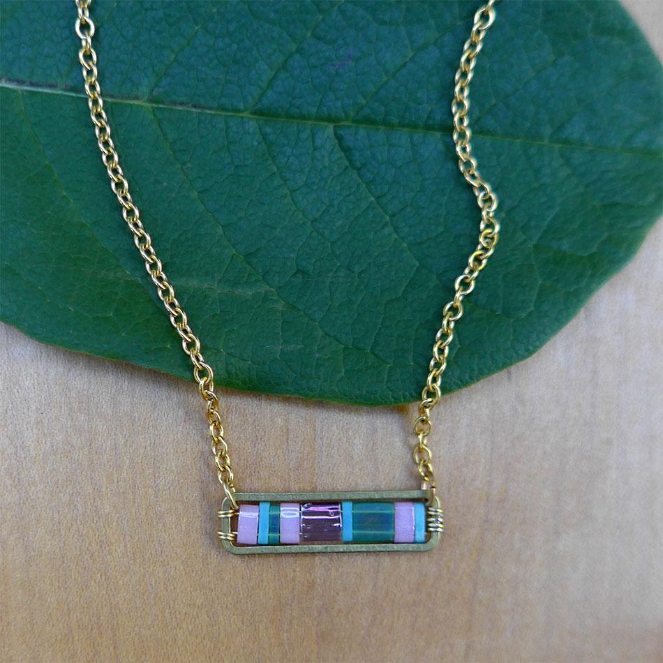 Fair trade brass and beaded bar necklace handmade in Guatemala