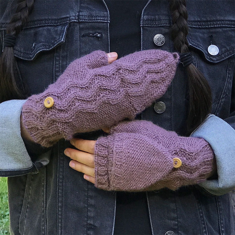 Fair trade alpaca fingerless convertible gloves mittens handmade in Peru