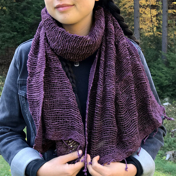 Fair trade cotton scarf handmade by women in Thailand