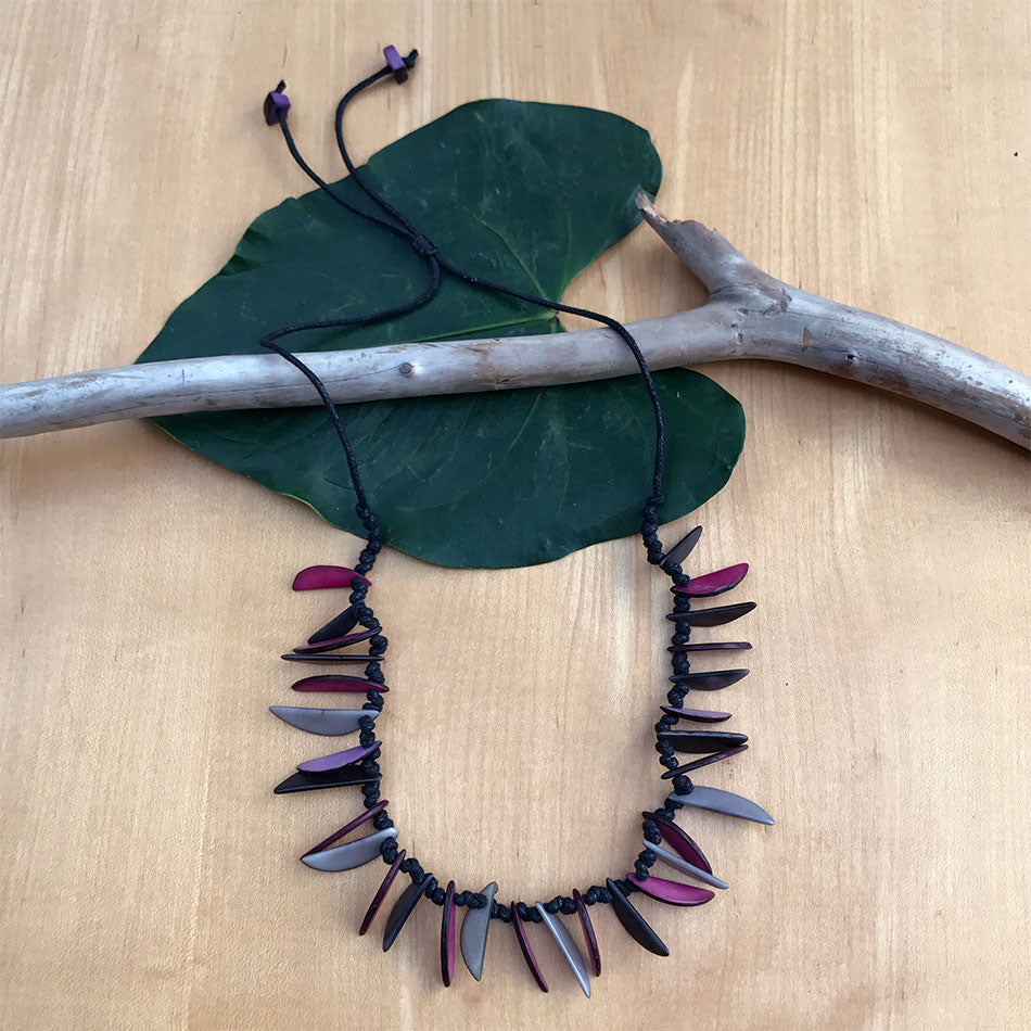 Fair trade tagua necklace handmade by women artisans in Colombia