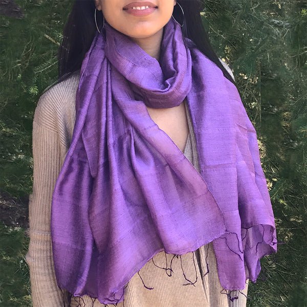 Fair trade silk and linen scarf handmade in Vietnam