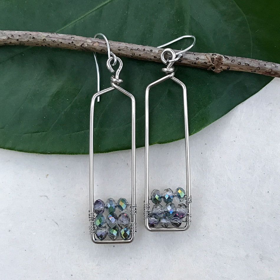 Fair trade crystal bead earrings handmade in Peru by disabled women