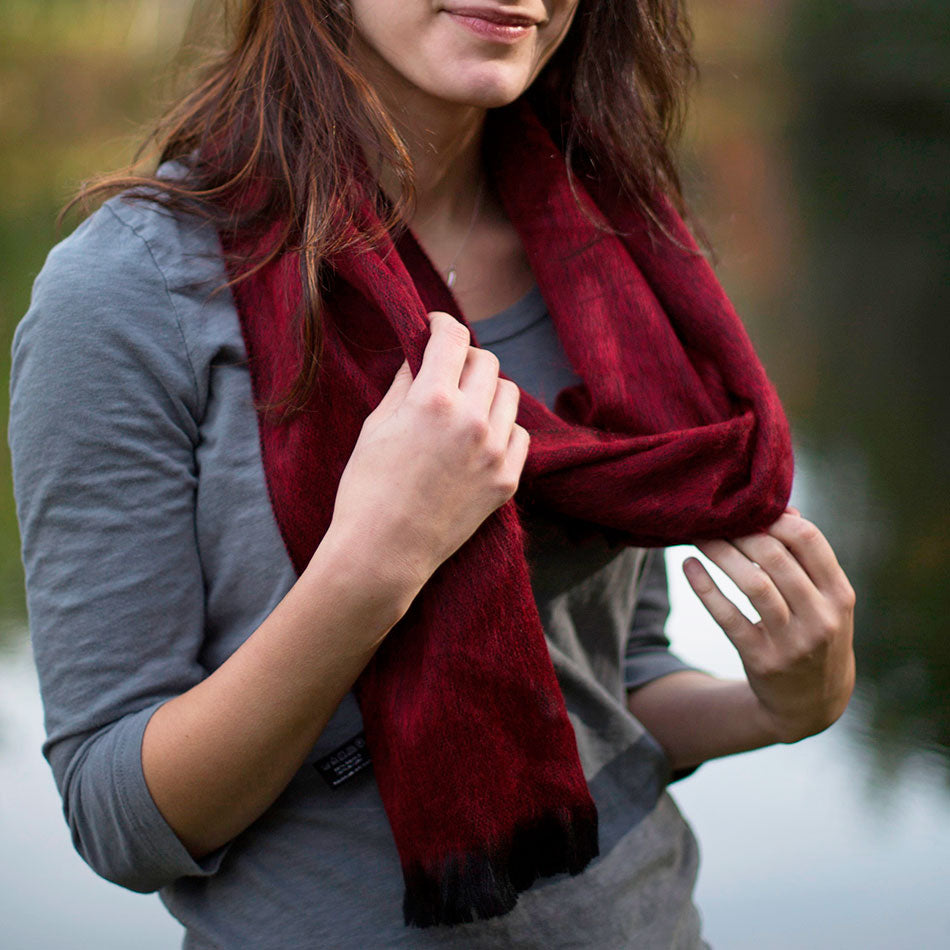 Luxurious Alpaca Scarf - Ruby, Ecuador