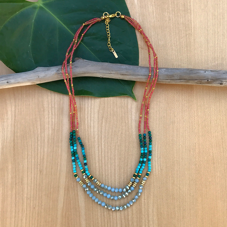 Fair trade beaded necklace handmade in Thailand by women.