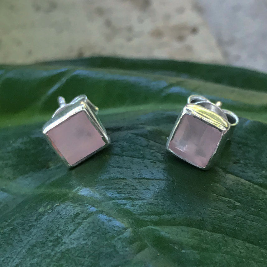 fair trade sterling silver and rose quartz earrings handmade by survivors of human trafficking India