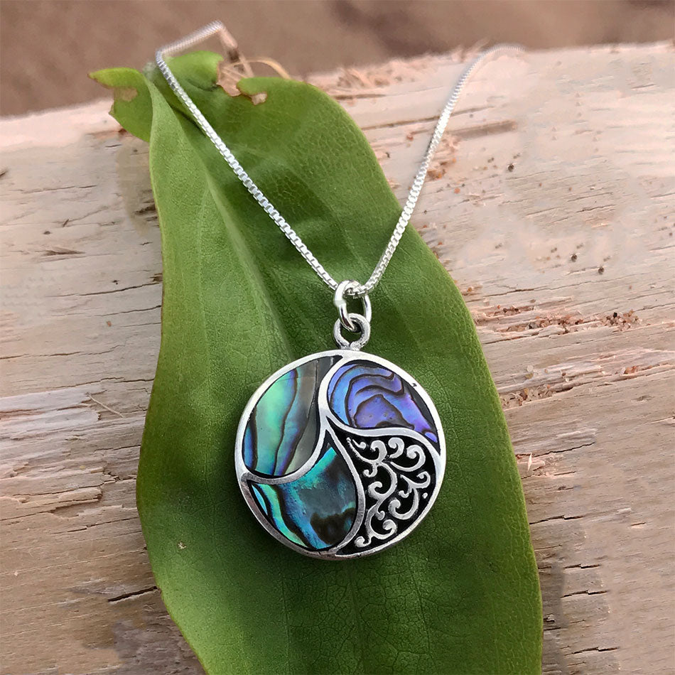 Fair trade sterling silver abalone necklace handmade in Bali