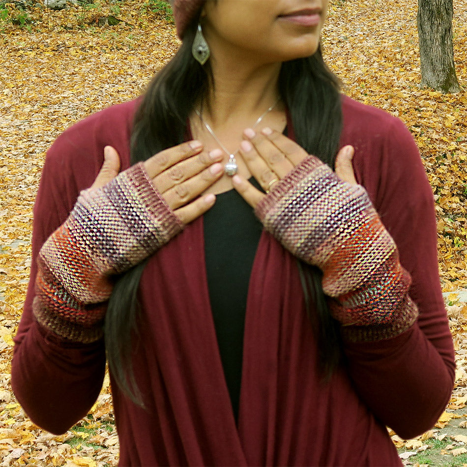 Luxurious Alpaca Fingerless Gloves - Rust