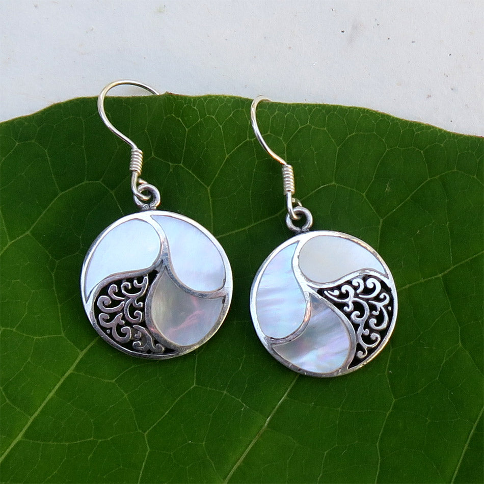 Fair trade sterling mother of pearl handmade earrings