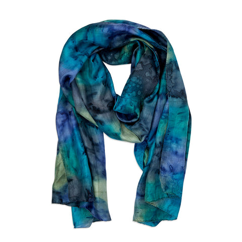 Fair trade silk scarf hand-painted by artisans in India