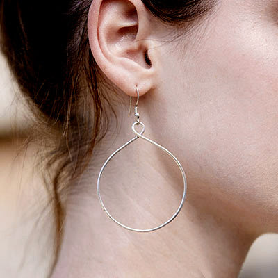 Fair trade silver hoops earrings handmade by women in India
