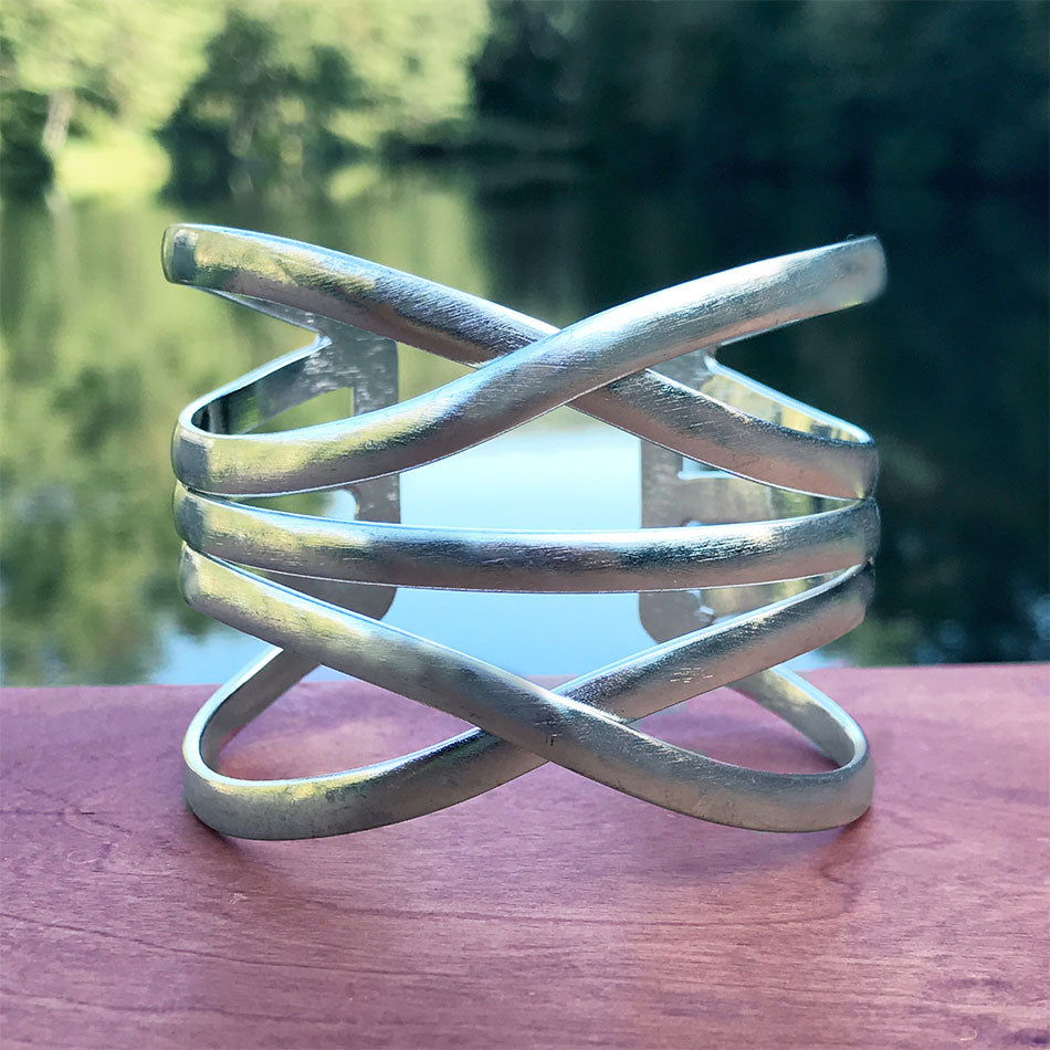 Fair trade silver cuff bracelet handmade by women in India.