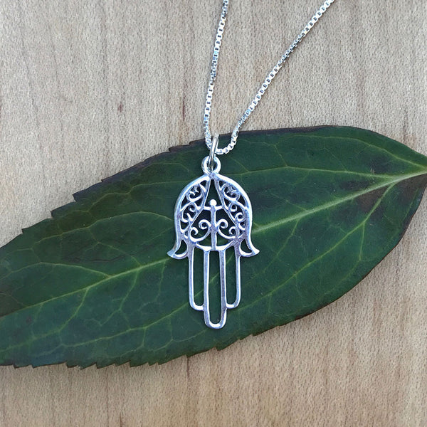 Hamsa Hand of Protection Necklace - Sterling Silver, Thailand