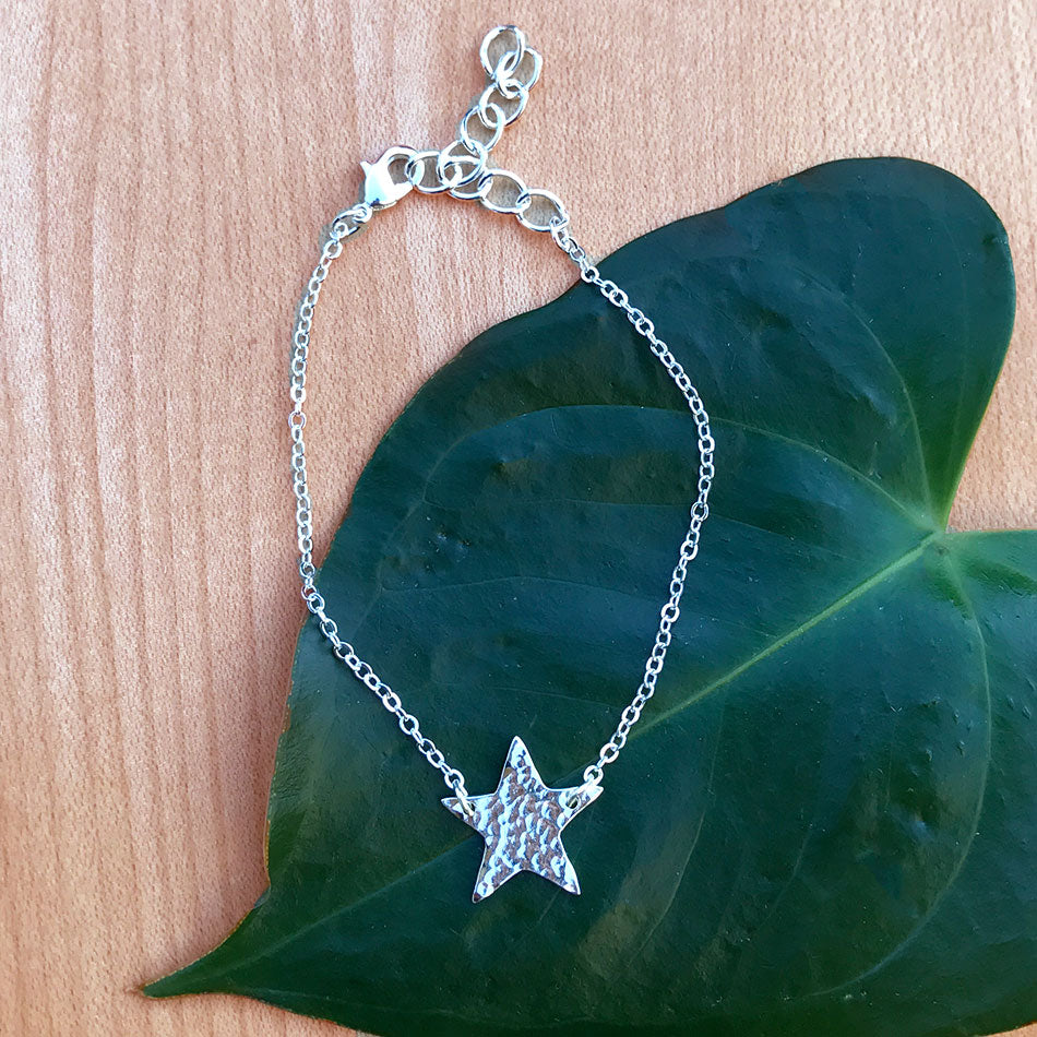 Fair trade silver star bracelet handmade in India