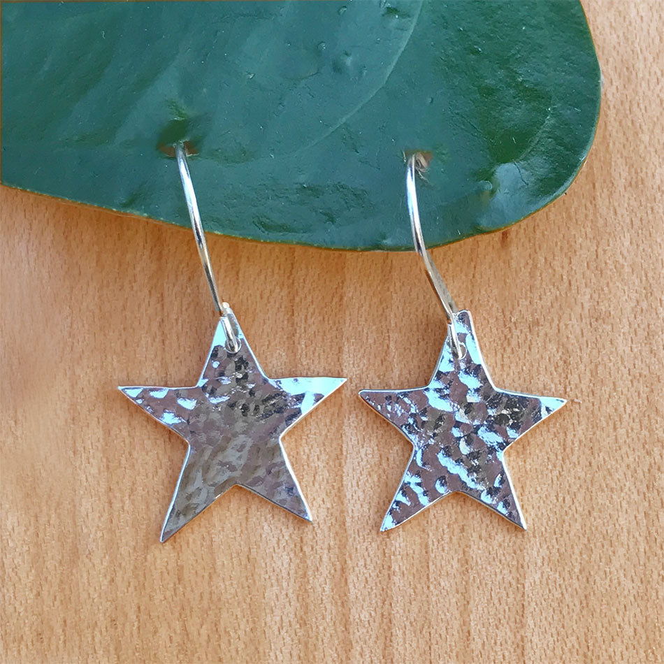 Silver fair trade star earrings handmade in India