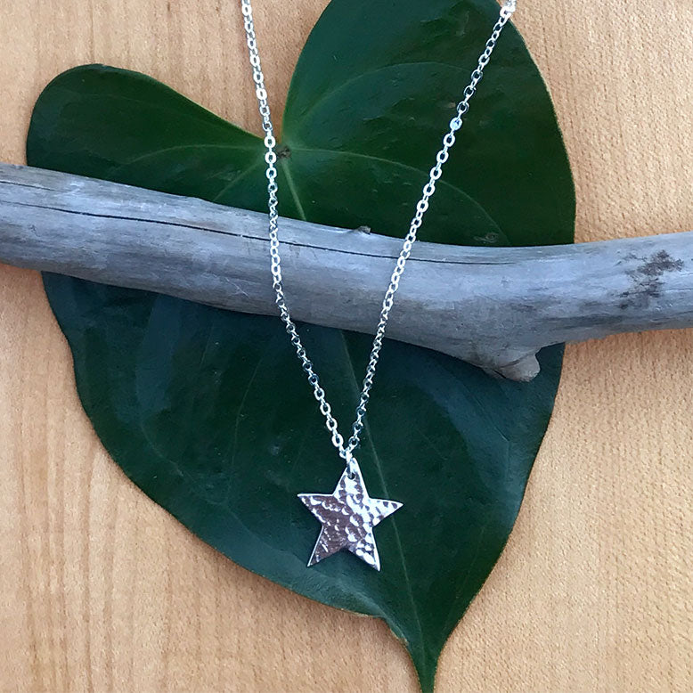 Silver fair trade star necklace handmade in India