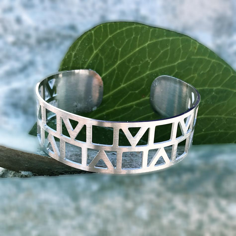 Fair trade silver bracelet handmade by survivors of human trafficking.