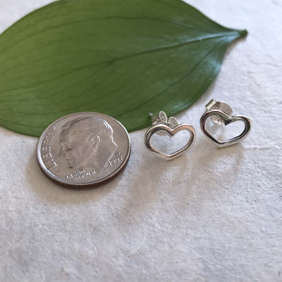 Sterling silver heart stud earrings handmade in Mexico