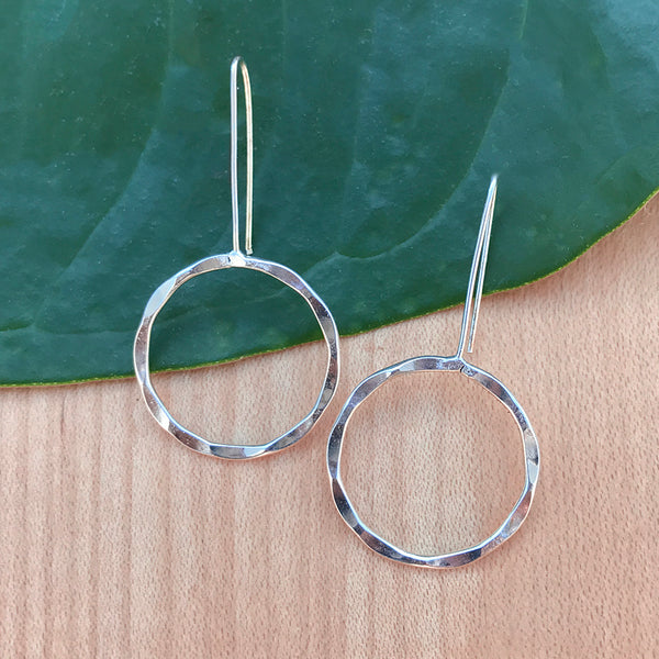 Fair trade silver earrings handmade by women in India