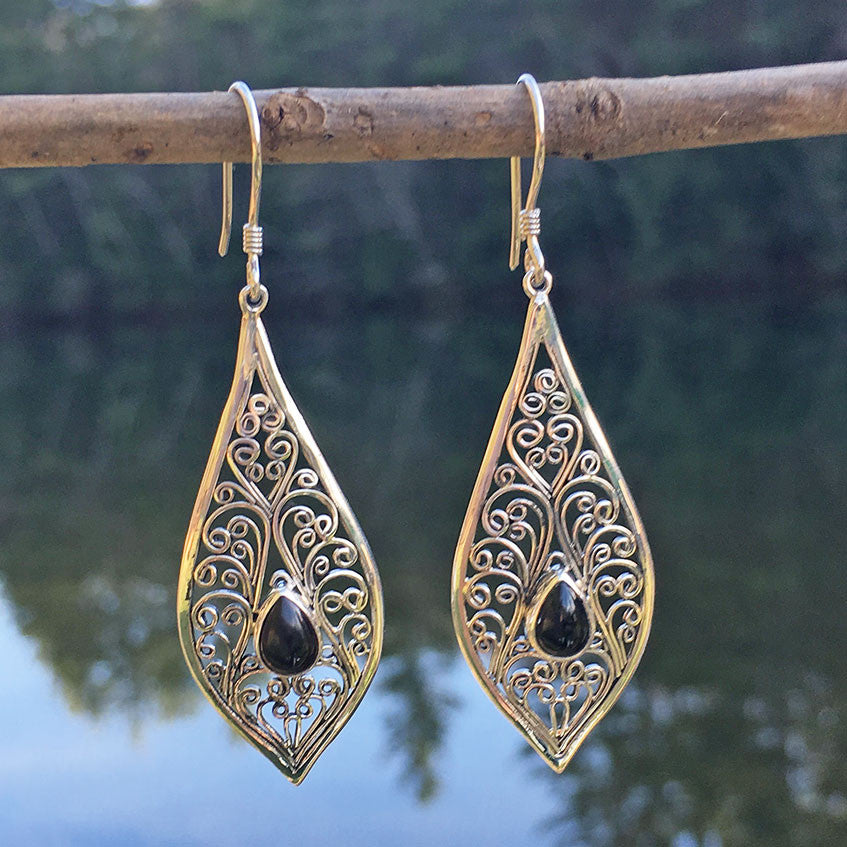 Sterling silver filigree fair trade earrings from Bali