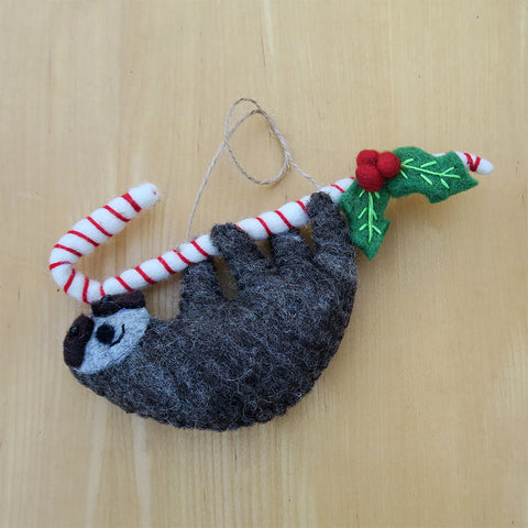 Fair trade sloth ornament handmade in Nepal