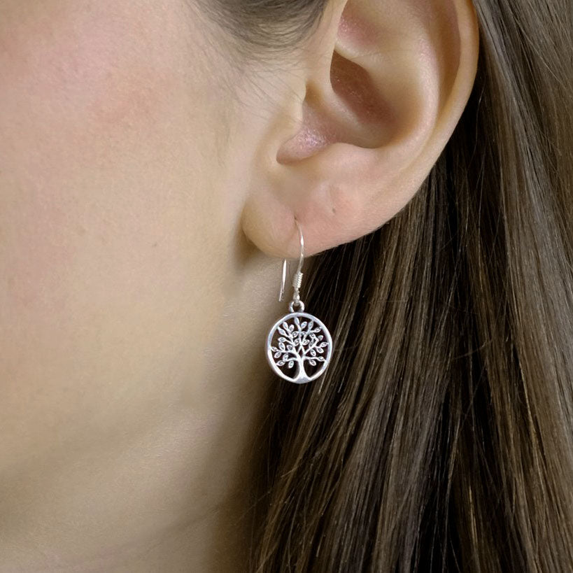 Fair trade sterling silver tree of life earrings handmade in Bali.