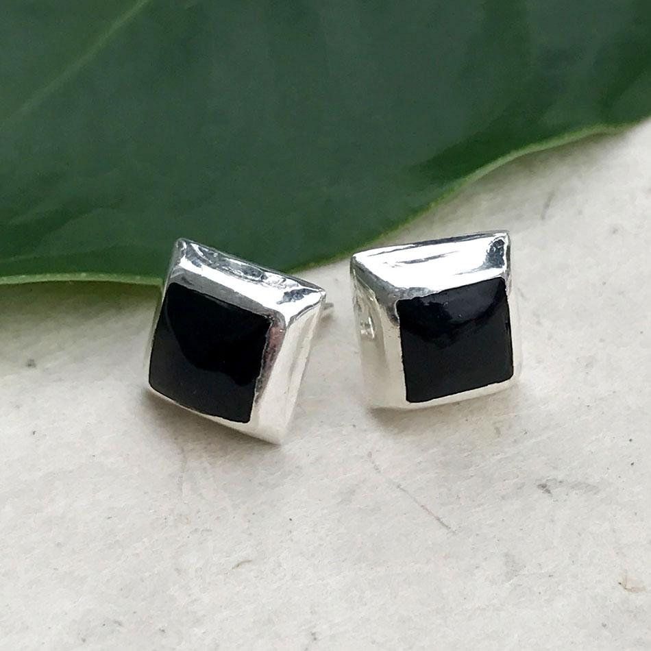 Sterling silver onyx studs earrings handmade in Mexico