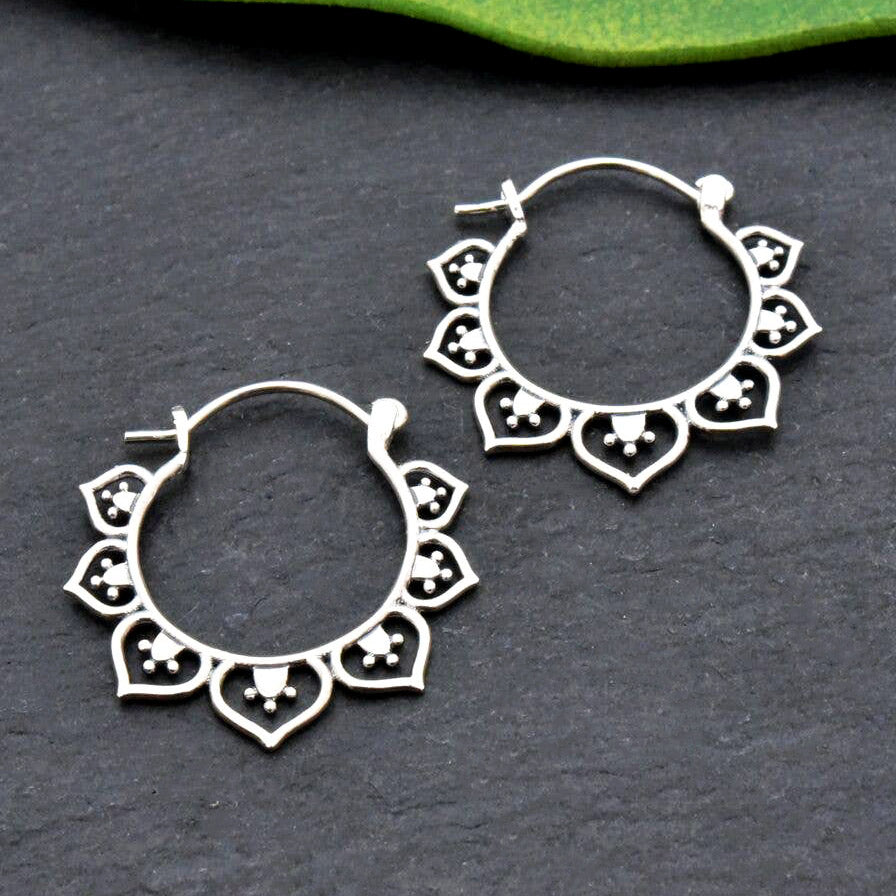 Fair trade sterling silver earrings handmade in Thailand