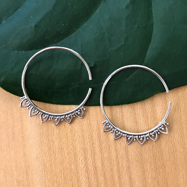 Lovely Lotus Hoops - Sterling Silver, Thailand