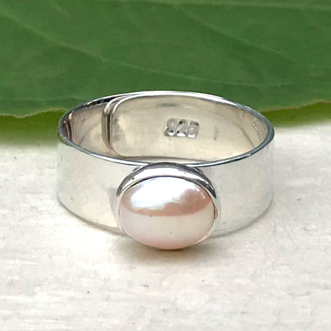 Fair trade sterling silver freshwater pearl ring