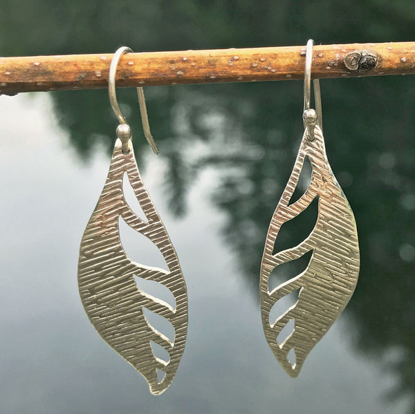 A New Leaf Earrings - sterling silver, Peru