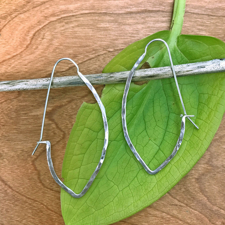 Arrow Hoop Earrings - Long, Sterling Silver, Mexico