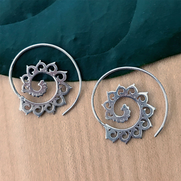 Lotus Spiral Earrings - Sterling Silver, Thailand