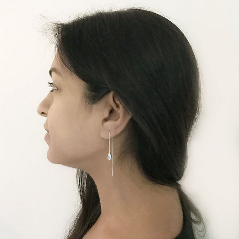 Sterling silver threader earrings handmade in Mexico