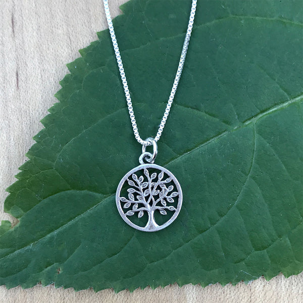 Sterling silver tree of life fair trade necklace handmade in Balie